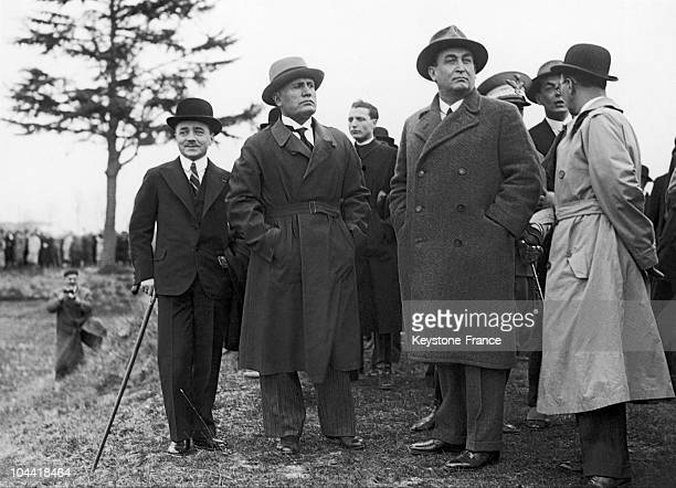 Chancellor Dollfuss Mussolini And General Gombos In 1933
