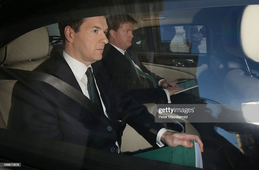 Chancellor <a gi-track='captionPersonalityLinkClicked' href=/galleries/search?phrase=George+Osborne&family=editorial&specificpeople=5544226 ng-click='$event.stopPropagation()'>George Osborne</a> (L) and Chief Secretary of the Treasury <a gi-track='captionPersonalityLinkClicked' href=/galleries/search?phrase=Danny+Alexander+-+Politician&family=editorial&specificpeople=6897330 ng-click='$event.stopPropagation()'>Danny Alexander</a> leave The Treasury for Parliament on December 3, 2014 in London, England. Chancellor of the Exchequer <a gi-track='captionPersonalityLinkClicked' href=/galleries/search?phrase=George+Osborne&family=editorial&specificpeople=5544226 ng-click='$event.stopPropagation()'>George Osborne</a> will deliver his Autumn statement to Parliament today.