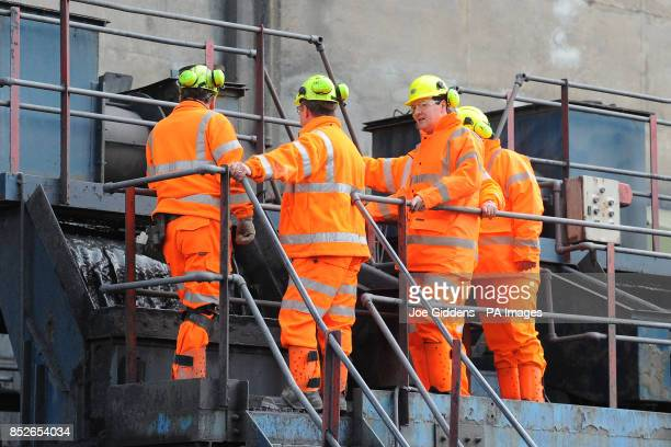 Chancellor George Osborne during his visit to Thoresby Colliery Nottinghamshire