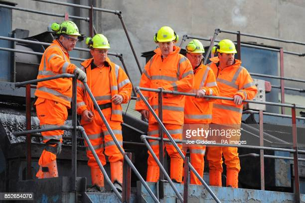 Chancellor George Osborne is given a tour by mine manager Derek Main chief executive of UK Coal Kevin McCullough surface manager Dave Lewis and...
