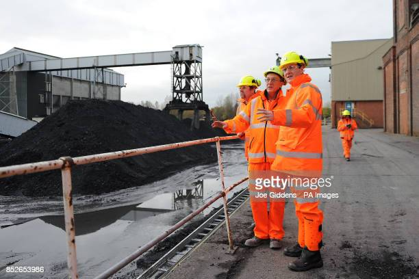 Chancellor George Osborne is given a tour by surface manager Dave Lewis during his visit to Thoresby Colliery Nottinghamshire