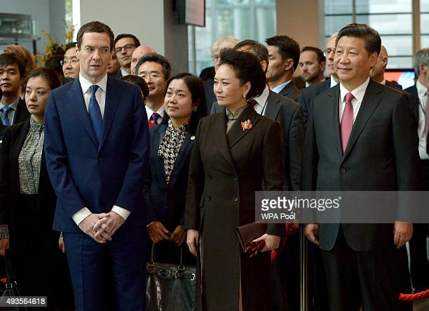 Chancellor George Osborne Madame Peng Liyuan Chinese President Xi Jinping listen to speeches during a visit to Imperial College on October 21 2015 in...