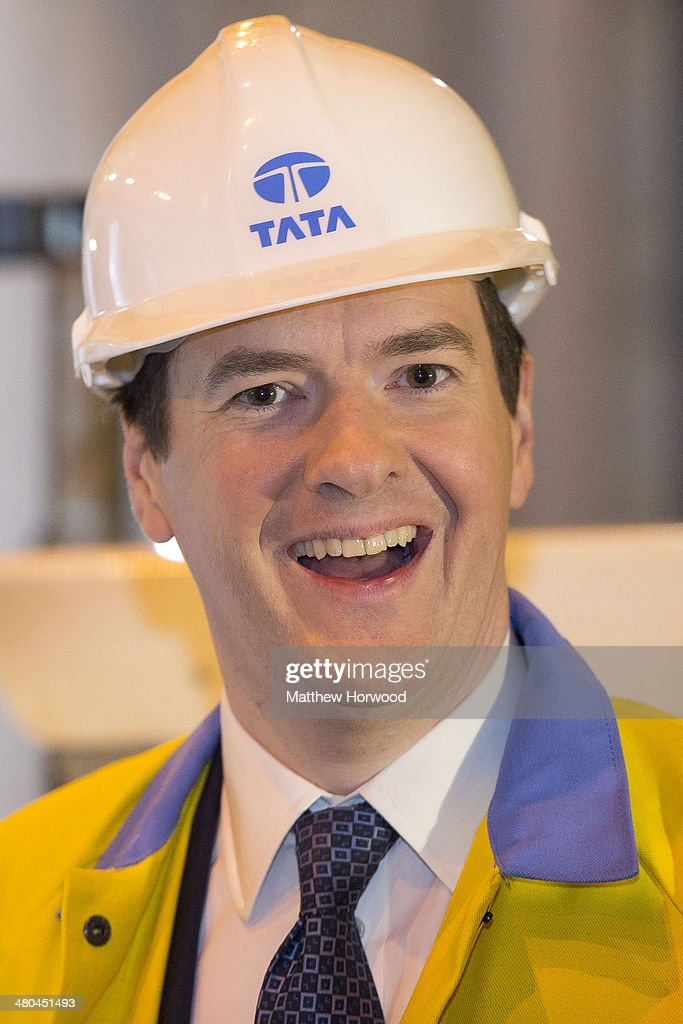 Chancellor <a gi-track='captionPersonalityLinkClicked' href=/galleries/search?phrase=George+Osborne&family=editorial&specificpeople=5544226 ng-click='$event.stopPropagation()'>George Osborne</a> smiles during a visit to Tata Steel to see how it has been affected by the budget on March 25, 2014 in Port Talbot, Wales. In the Chancellor's budget statement last week he announced support for energy intensive manufacturing, Tata's Port Talbot factory is the largest steel plant in the UK, producing five million tonnes of steel annually and employs over 4,000 people.