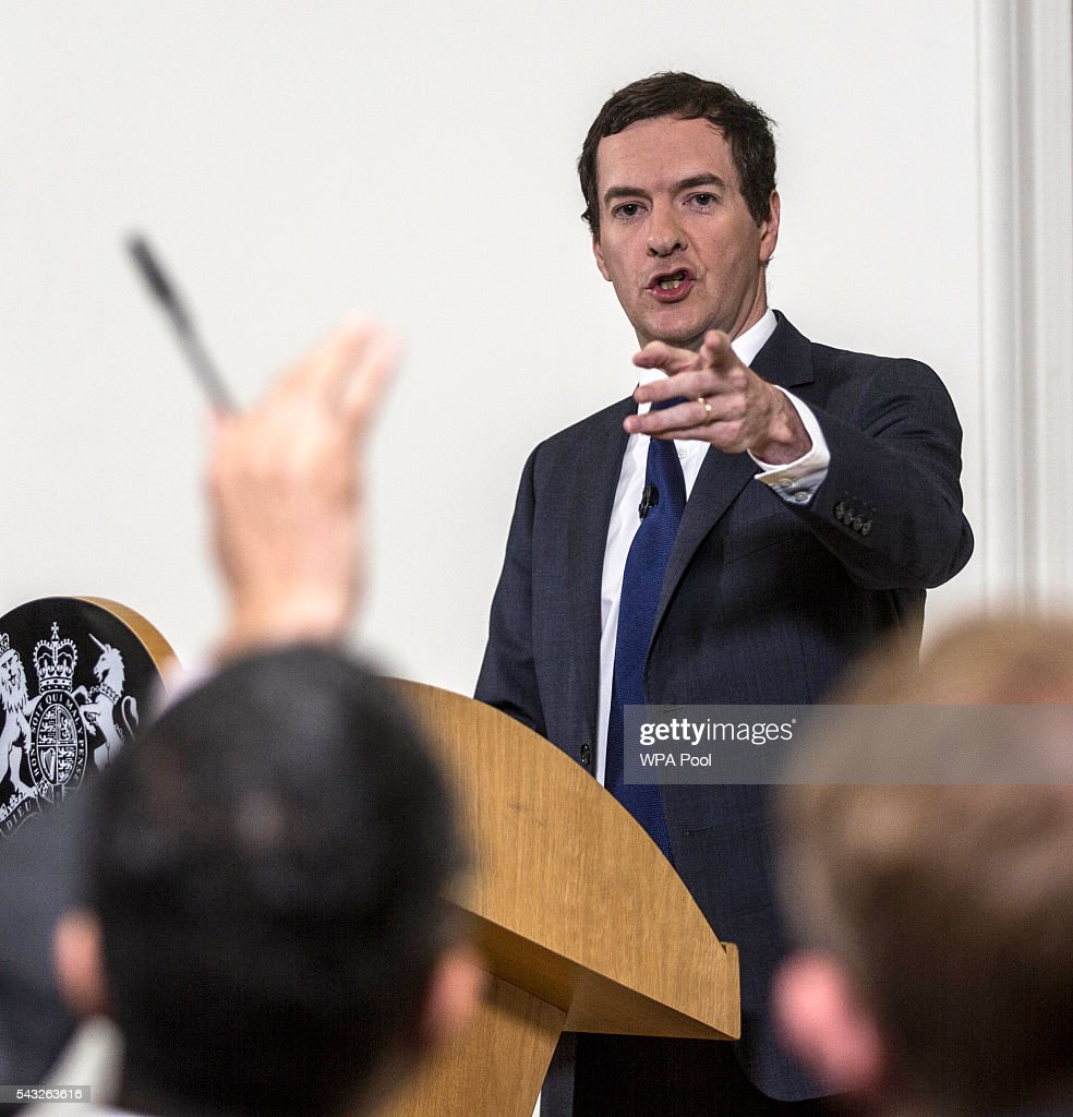 Chancellor <a gi-track='captionPersonalityLinkClicked' href=/galleries/search?phrase=George+Osborne&family=editorial&specificpeople=5544226 ng-click='$event.stopPropagation()'>George Osborne</a> speaks at The Treasury, where he moved to try to calm market turmoil triggered by the pro-Brexit vote on June 27, 2016 in London, United Kingdom. Mr Osborne spoke ahead of the start of financial trading and outlined how the Government will 'protect the national interest' after the UK voted to leave the EU.