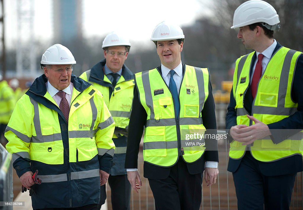 Chancellor George Osborne (2nd R) speaks to construction workers at the Berkeley Homes Royal Arsenal Riverside development in Woolwich on March 21, 2013 in south east London, England. The Chancellor of the Exchequer visited homebuyers and construction workers at the housing development site the day after he announced in his Budget speech the government's measures for assisting first-time buyers and existing home-owners in moving up the property ladder, with a GBP £3.5 billion investment in government loans to financially stretched home-buyers and GBP £12 billion towards a scheme to increase availability of mortgages to first-time buyers unable to afford a large deposit. Homebuyers will be able to borrow up to 20% per cent of the value of most new-build properties interest-free for five years.