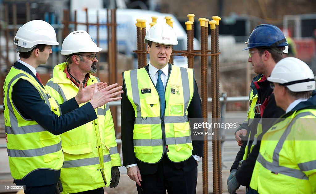 Chancellor <a gi-track='captionPersonalityLinkClicked' href=/galleries/search?phrase=George+Osborne&family=editorial&specificpeople=5544226 ng-click='$event.stopPropagation()'>George Osborne</a> (C) speaks to construction workers at the Berkeley Homes Royal Arsenal Riverside development in Woolwich on March 21, 2013 in south east London, England. The Chancellor of the Exchequer visited homebuyers and construction workers at the housing development site the day after he announced in his Budget speech the government's measures for assisting first-time buyers and existing home-owners in moving up the property ladder, with a GBP £3.5 billion investment in government loans to financially stretched home-buyers and GBP £12 billion towards a scheme to increase availability of mortgages to first-time buyers unable to afford a large deposit. Homebuyers will be able to borrow up to 20% per cent of the value of most new-build properties interest-free for five years.