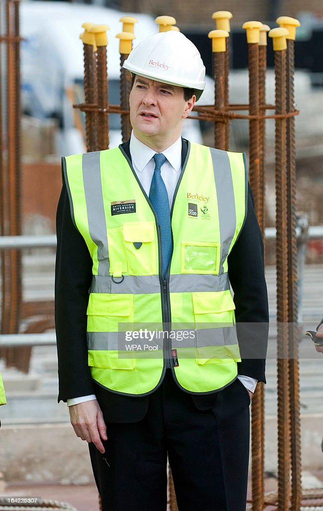 Chancellor <a gi-track='captionPersonalityLinkClicked' href=/galleries/search?phrase=George+Osborne&family=editorial&specificpeople=5544226 ng-click='$event.stopPropagation()'>George Osborne</a> visits apartments under construction at the Berkeley Homes Royal Arsenal Riverside development in Woolwich on March 21, 2013 in south east London, England. The Chancellor of the Exchequer visited homebuyers and construction workers at the housing development site the day after he announced in his Budget speech the government's measures for assisting first-time buyers and existing home-owners in moving up the property ladder, with a GBP £3.5 billion investment in government loans to financially stretched home-buyers and GBP £12 billion towards a scheme to increase availability of mortgages to first-time buyers unable to afford a large deposit. Homebuyers will be able to borrow up to 20% per cent of the value of most new-build properties interest-free for five years.