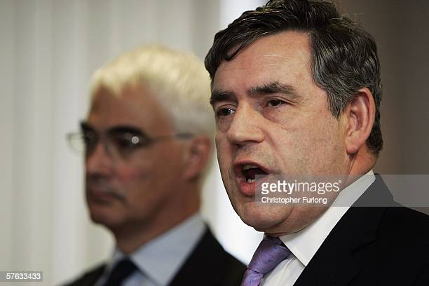 Chancellor Gordon Brown and Trade and Industry Secretary Alistair Darling attend a press conference at Vauxhall Motor Company's Astra production...
