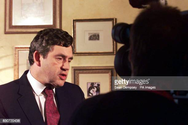 Chancellor Gordon Brown being interviewed on BBC Radio at the Metropole hotel on the second day of the Labour Party Conference held in Brighton Mr...