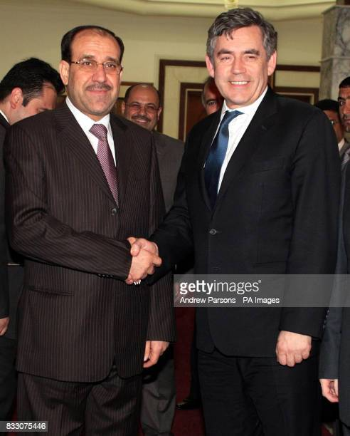Chancellor Gordon Brown meets Iraqi Prime Minister Nouri alMaliki at his residence in Bahgdad Iraq during a visit to the region