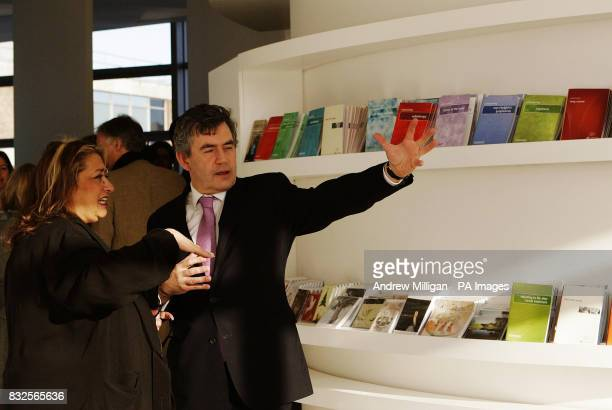 Chancellor Gordon Brown with building architect Zaha Hadid as he official opens the fifth Maggie's Cancer Caring Centre at Victoria Hospital in...