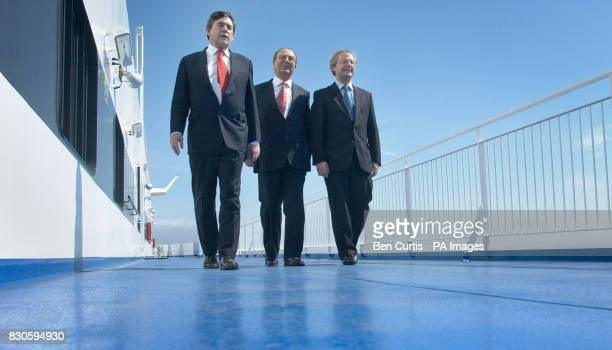 Chancellor Gordon Brown with Chairman of Superfast Ferries Pericles Panagopulos and Scottish First Minister Henry McLeish onboard the new 'Superfast...
