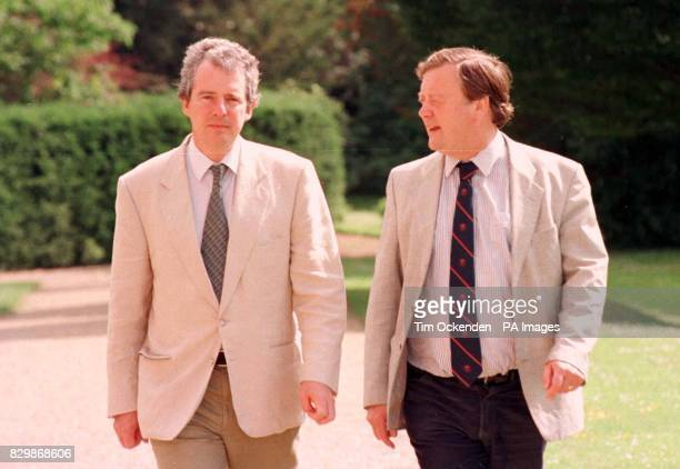 Chancellor Ken Clarke chats to his Chief Secretary William Waldegrave at a summit held today at his country house of Chevening on the day he came...