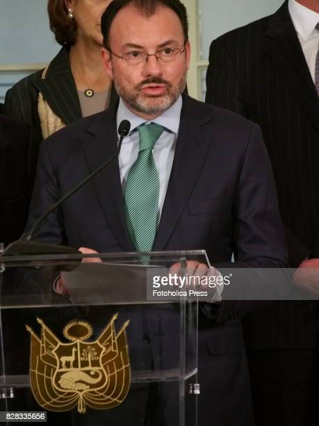 Chancellor Luis Videgaray from Mexico in the name of Latin American Caribean countries and Canada presents to the press the Declaration of Lima...