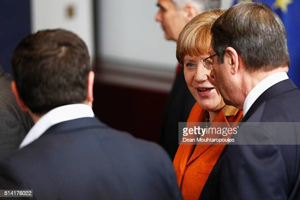 Chancellor of Germany Angela Merkel Prime Minister of Greece Alexis Tsipras and Prime Minister of Cyprus Nicos Anastasiades speak during the family...
