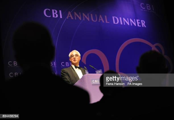 Chancellor of the Exchequer Alistair Darling delivers a speech at the Confederation of British Industry annual dinner in central London