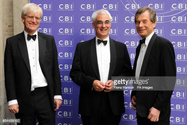 Chancellor of the Exchequer Alistair Darling is greeted by Richard Lambert the Director General of the Confederation of British Industry and its...