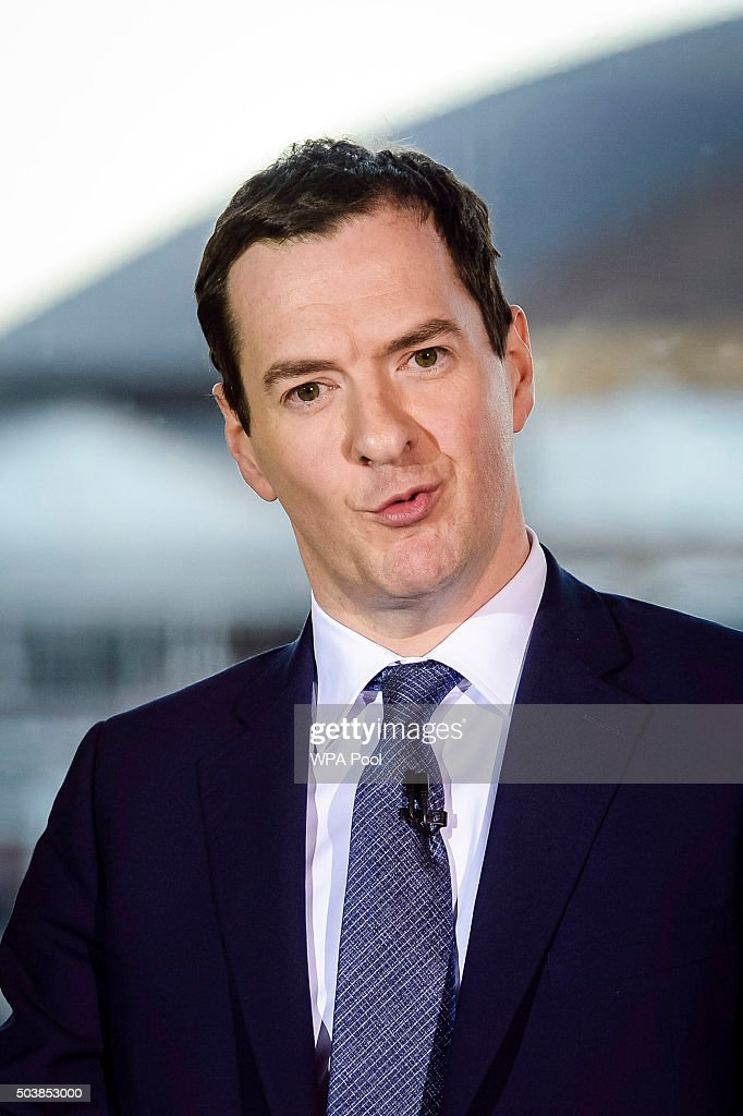 Chancellor of the Exchequer George is seen during his speech at St David's hotel during his visit to Cardiff on January 7, 2016 in Cardiff, Wales.
