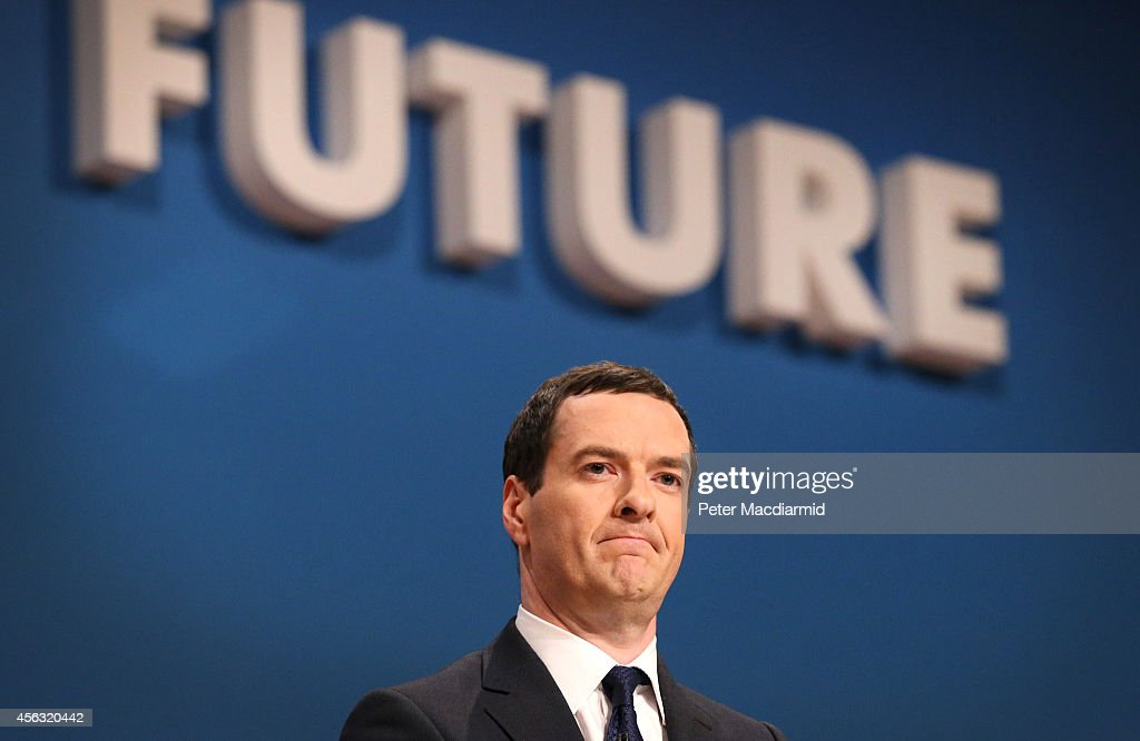 Chancellor of the Exchequer <a gi-track='captionPersonalityLinkClicked' href=/galleries/search?phrase=George+Osborne&family=editorial&specificpeople=5544226 ng-click='$event.stopPropagation()'>George Osborne</a> addresses the Conservative party conference on September 29, 2014 in Birmingham, England. The second day of conference is set to be dominated by the economy.
