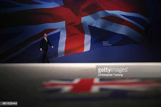 Chancellor of the Exchequer George Osborne addresses the Conservative party conference on October 5 2015 in Manchester England The second day of the...