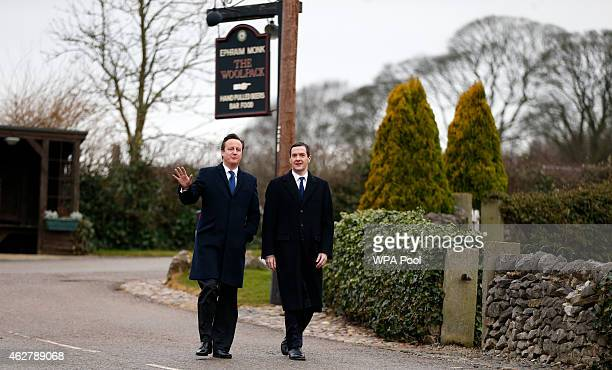 Chancellor Of The Exchequer George Osborne and Prime Minister David Cameron visit the set of television series Emmerdale on the Harewood Estate on...
