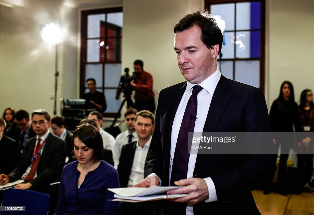 Chancellor of the Exchequer <a gi-track='captionPersonalityLinkClicked' href=/galleries/search?phrase=George+Osborne&family=editorial&specificpeople=5544226 ng-click='$event.stopPropagation()'>George Osborne</a> attends a press conference at The Treasury in Whitehall on February 6, 2013 in London, England. Angel Gurria, Secretary-General of the economic think tank 'Organisation for Economic Cooperation and Development' (OECD) , attended the press conference to present the OECD's latest Economic Survey of the United Kingdom.