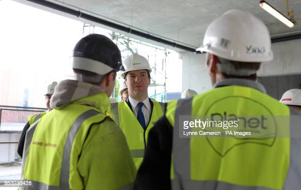 Chancellor of the Exchequer George Osborne during his visit to the National Graphene Insitute in Castleford Manchester