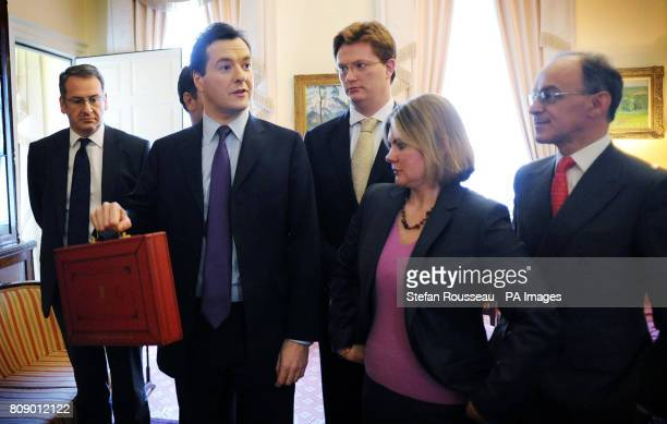 Chancellor of the Exchequer George Osborne has a rehearsal with his treasury team from left Mark Hoban David Gauke Danny Alexander Justine Greening...