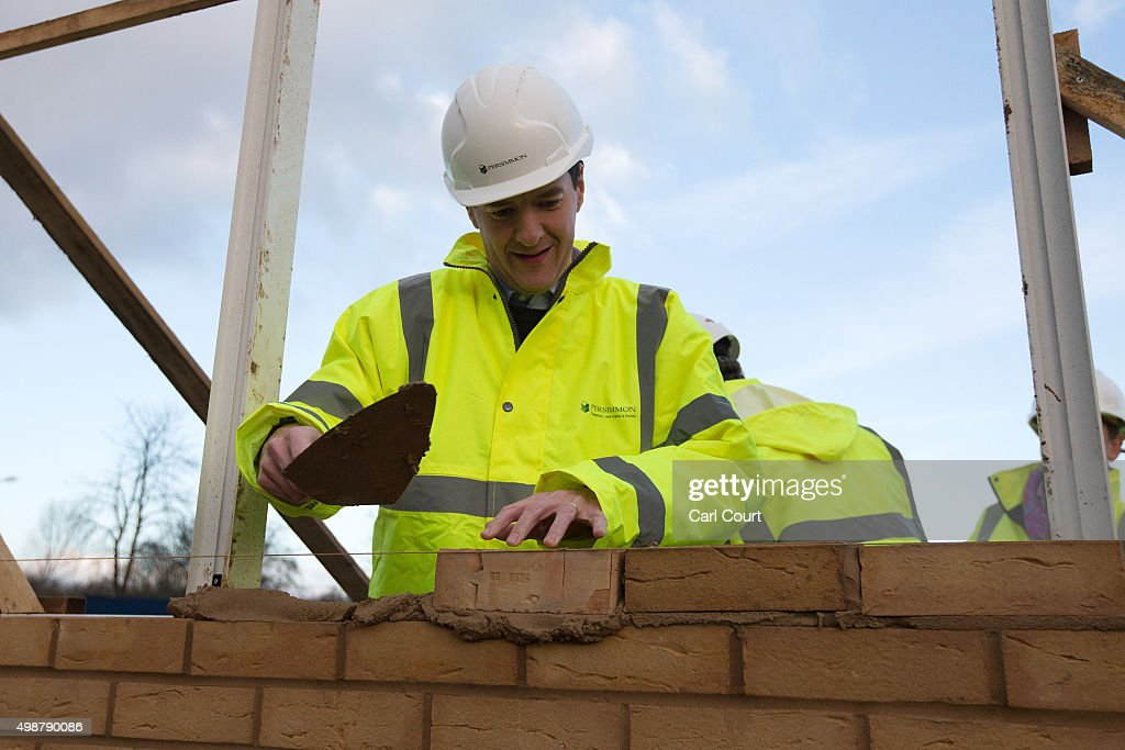 Chancellor of the Exchequer <a gi-track='captionPersonalityLinkClicked' href=/galleries/search?phrase=George+Osborne&family=editorial&specificpeople=5544226 ng-click='$event.stopPropagation()'>George Osborne</a> lays a brick during a visit to a housing development on November 26, 2015 in South Ockendon in Essex, England. Mr Osborne used the visit to highlight points made in yesterdays Spending Review while also denying that his U-turn on tax credits was a sign of weakness.