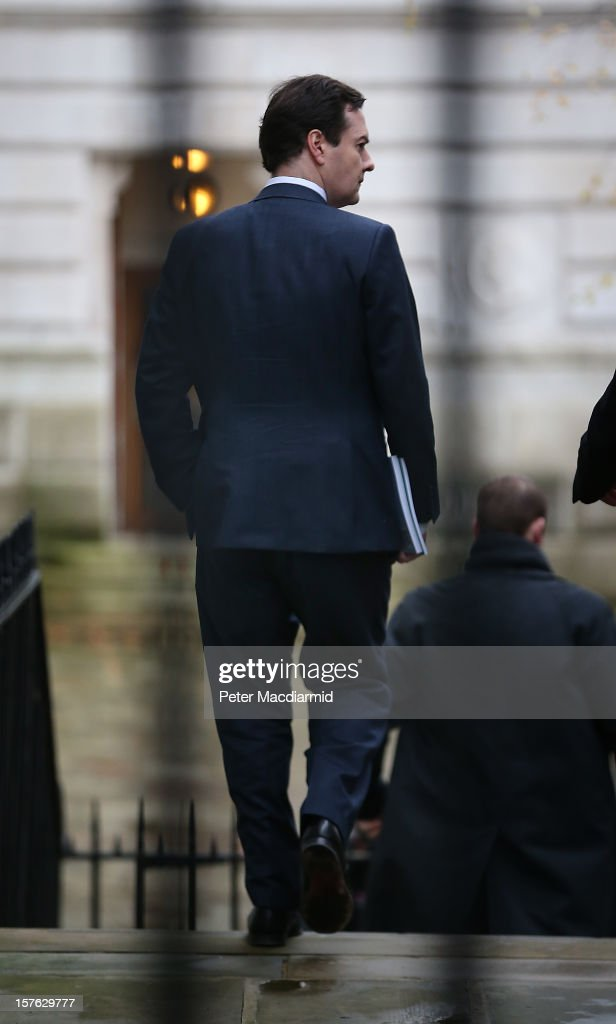 Chancellor of the Exchequer <a gi-track='captionPersonalityLinkClicked' href=/galleries/search?phrase=George+Osborne&family=editorial&specificpeople=5544226 ng-click='$event.stopPropagation()'>George Osborne</a> leaves Downing Street for The Treasury on December 5, 2012 in London, England. The Chancellor is expected to say that there is no miracle cure for the United Kingdom's financial woes as the economy struggles for growth when he delivers his Autumn Statement later in Parliament.
