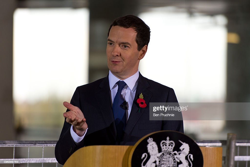 Chancellor of the Exchequer <a gi-track='captionPersonalityLinkClicked' href=/galleries/search?phrase=George+Osborne&family=editorial&specificpeople=5544226 ng-click='$event.stopPropagation()'>George Osborne</a> speaks to journalists ahead of the spending review at Imperial College White City on November 9, 2015 in London, England. The Chancellor provisionally announced cuts of up to 30% over the next four years for four government sectors including the treasury.