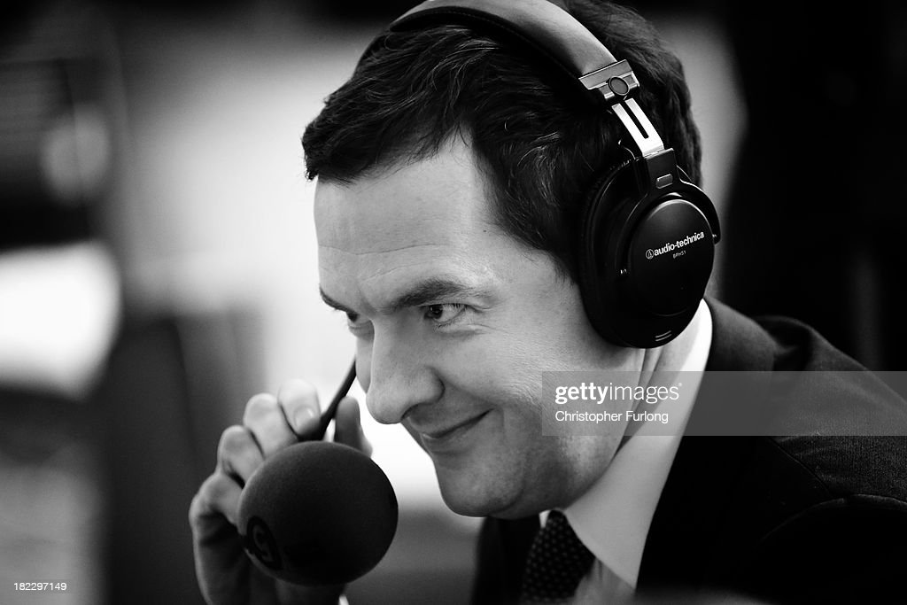 Chancellor Of The Exchequer George Osborne takes part in a radio interview at Manchester Central on the first day of the annual Conservative Conference on September 29, 2013 in Manchester, England. Prime Minister David Cameron has announced that the Government is to bring forward by three months its scheme to assist first-time home buyers in England to take out 95% mortgages.