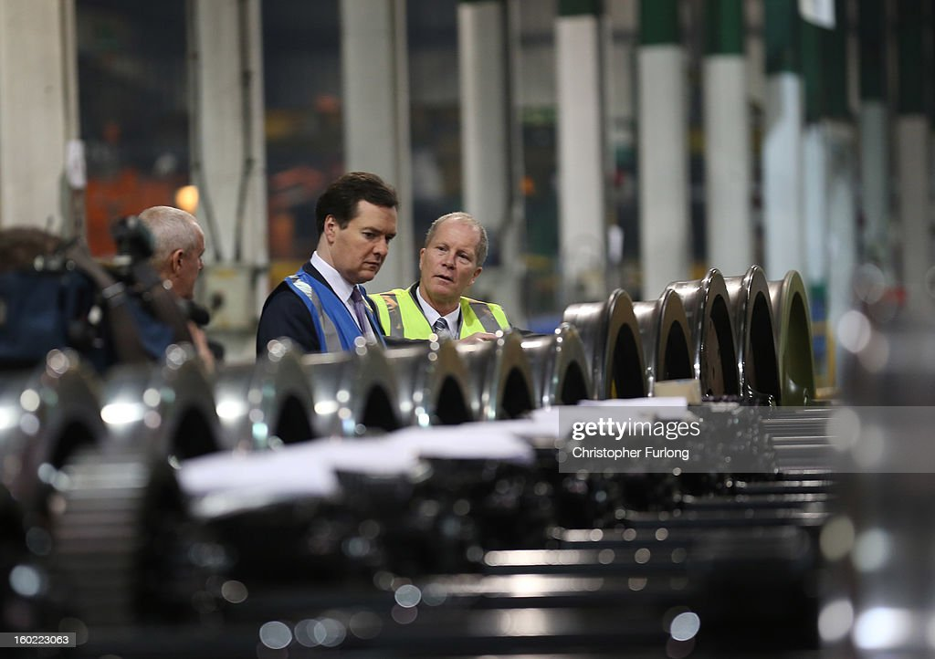 Chancellor of the Exchequer <a gi-track='captionPersonalityLinkClicked' href=/galleries/search?phrase=George+Osborne&family=editorial&specificpeople=5544226 ng-click='$event.stopPropagation()'>George Osborne</a> takes part in a tour of the train wheel manufacturers Lucchini UK, at Trafford Park on January 28, 2013 in Manchester, England. The government has today released details of the next phase of the GBP 32 billion HS2 high-speed rail network, which will link Manchester and Leeds.