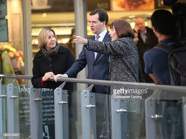 Chancellor of the Exchequer George Osborne tours Manchester Piccadilly Station with Diane Crowther Manging Director of Network Rail and Alison Monroe...