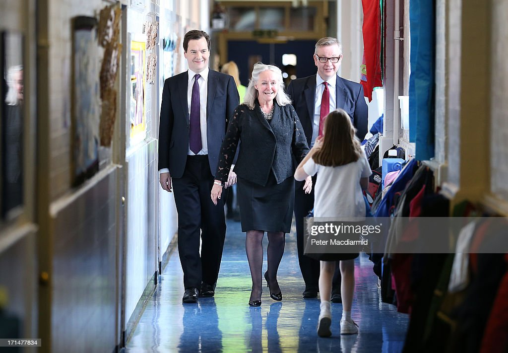 Chancellor of the Exchequer <a gi-track='captionPersonalityLinkClicked' href=/galleries/search?phrase=George+Osborne&family=editorial&specificpeople=5544226 ng-click='$event.stopPropagation()'>George Osborne</a> (L) visits Old Ford Primary School with Head Teacher Amanda Phillips and Secretary of State for Education Michael Gove on June 25, 2013 in London, England. Tomorrow Mr Osborne will announce the Government's spending review for 2015-1016. Earlier the Chancellor announced that spending on schools will be ring fenced.