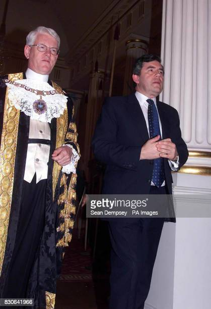 Chancellor of the Exchequer Gordon Brown and the Lord Mayor of London David Howard at The Mansion House in the City of London to attend the Lord...