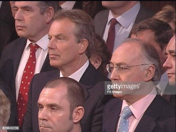 Chancellor of the Exchequer Gordon Brown British Prime Minister Tony Blair and Conservative Party leader Michael Howard listen as Britain's Queen...