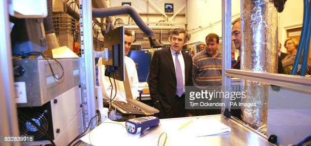 Chancellor of the Exchequer Gordon Brown during a visit to technology company Ceres Power in Crawley west Sussex