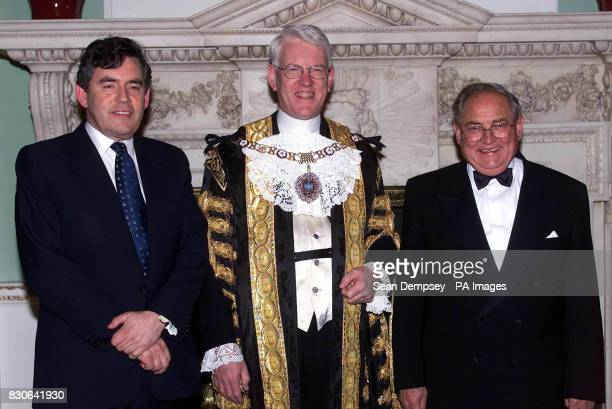 Chancellor of the Exchequer Gordon Brown Lord Mayor of London David Howard and Governer of the Bank of England Eddie George at The Mansion House in...