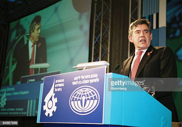 K Chancellor of the Exchequer Gordon Brown speaks at the Prime Minister's Conference for Export and International Cooperation2005 at the David...