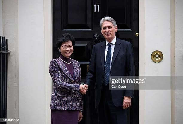 Chancellor of the Exchequer Philip Hammond greets Carrie Lam the Chief Secretary for the Administration of Hong Kong Government at 11 Downing Street...