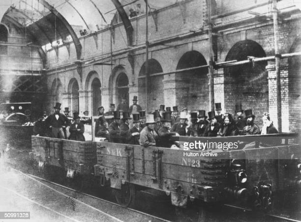 Chancellor of the Exchequer William Ewart Gladstone with directors and engineers of the Metropolitan Railway Company on an inspection tour of the...