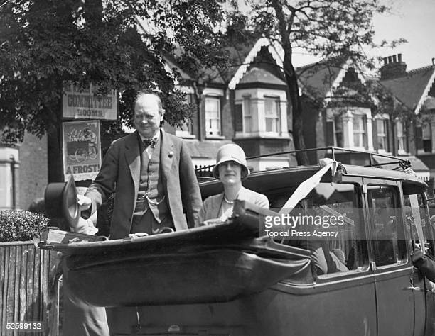 Chancellor of the Exchequer Winston Churchill with his wife Clementine at Epping during the General Election campaign 29th May 1929