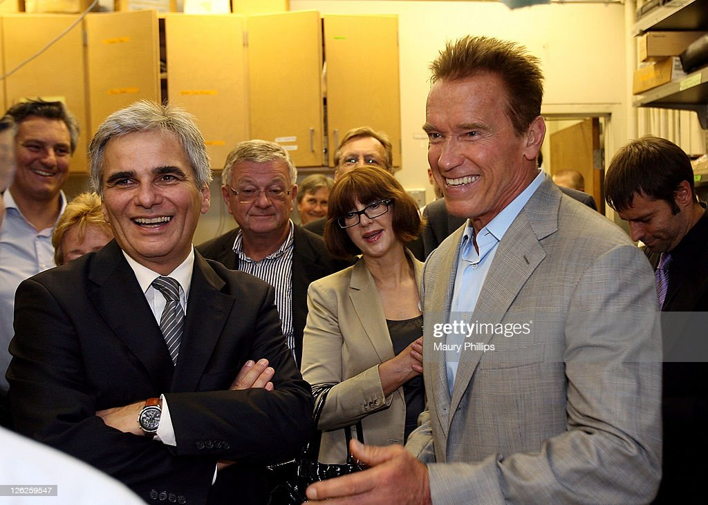 Chancellor Werner Faymann and former governor Arnold Schwarzenegger during the Solar Energy Research Labs Tour on September 23 2011 in Los Angeles...