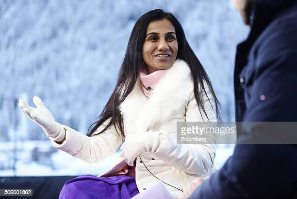 Chanda Kochhar chief executive officer of ICICI Bank Ltd gestures as she speaks during a Bloomberg Television interview during the World Economic...
