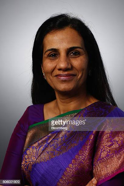 Chanda Kochhar chief executive officer of ICICI Bank Ltd poses for a photograph following a Bloomberg Television interview in Davos Switzerland on...