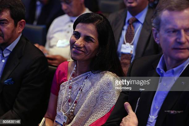 Chanda Kochhar chief executive officer of ICICI Bank Ltd reacts as she attends a panel session at the World Economic Forum in Davos Switzerland on...