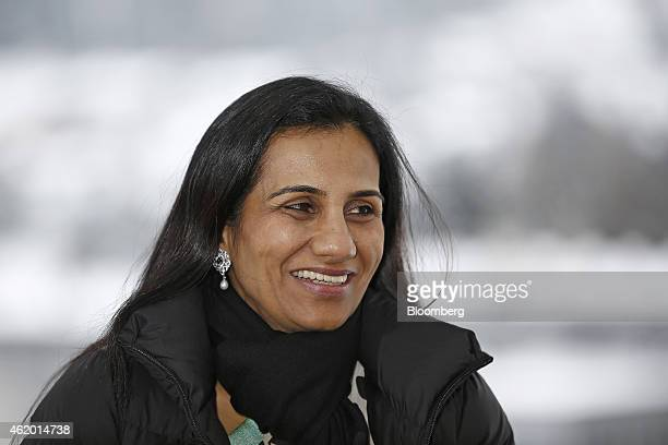 Chanda Kochhar managing director and chief executive officer of ICICI Bank Ltd reacts during a Bloomberg Television interview on day three of the...