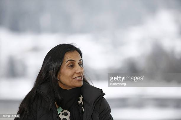 Chanda Kochhar managing director and chief executive officer of ICICI Bank Ltd speaks during a Bloomberg Television interview on day three of the...