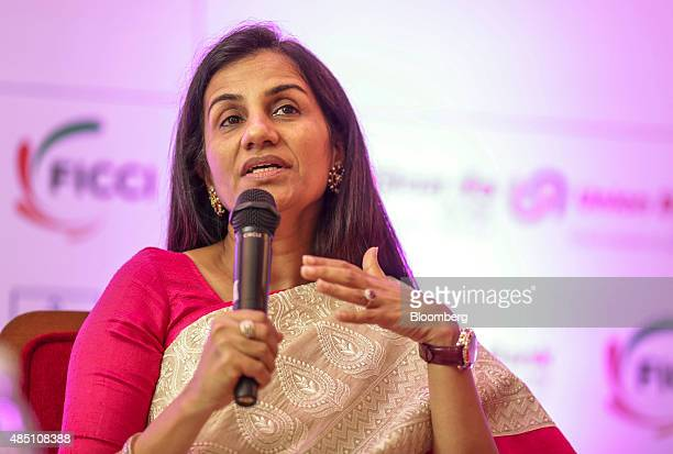 Chanda Kochhar managing director and chief executive officer of ICICI Bank Ltd speaks at the FIBAC banking conference in Mumbai India on Monday Aug...